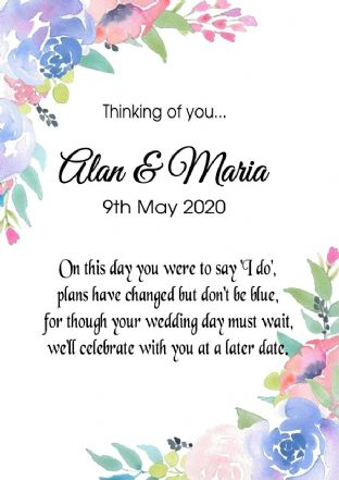 Thinking of you Wedding Postponed Card Floral
